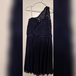 David's Bridal Marine/Navy Blue One Shoulder Dress